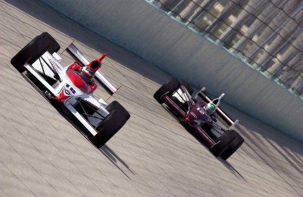 2003 IRL IndyCar Homestead, 2/28-3/2,2003, Homestead-Miami Speedway, USA Rookie Scott Mayer paces IRL newcomer Tora Takagi into turn three.World Copyright-F Peirce Williams 2003 LAT Photographicref: Digital Image Only