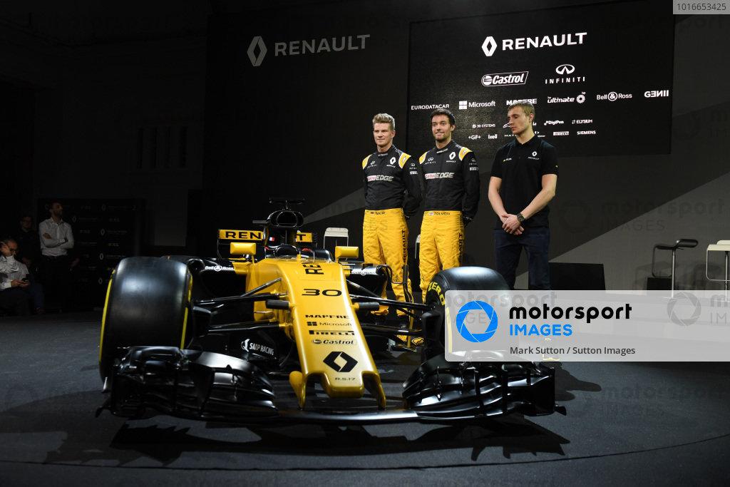 Nico Hulkenberg (GER) Renault Sport F1 Team, Jolyon Palmer (GBR) Renault Sport F1 Team and Sergey Sirotkin (RUS) Renault Sport F1 Team Test Driver at Renault Sport F1 Team RS17 Reveal, The Lindley Hall, London, England, 21 February 2017.