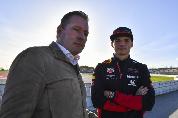 Max Verstappen, Red Bull Racing, and father Jos watch the action trackside
