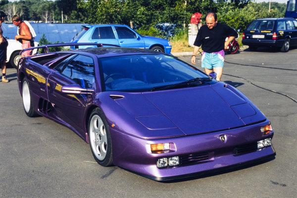 A Lamborghini Diablo VT Coupe in the paddock.