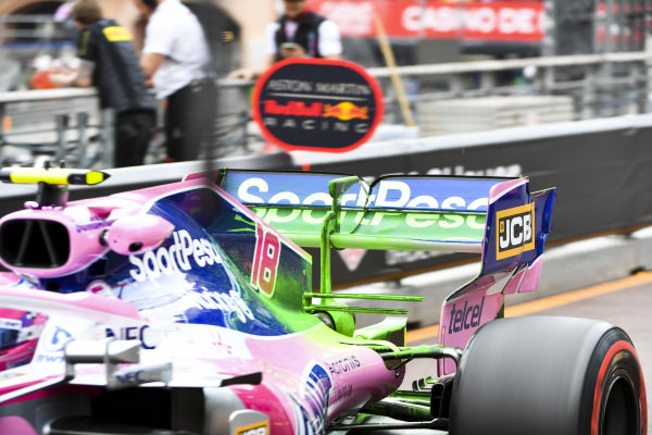 Flow-viz paint on the rear wing of Lance Stroll, Racing Point RP19