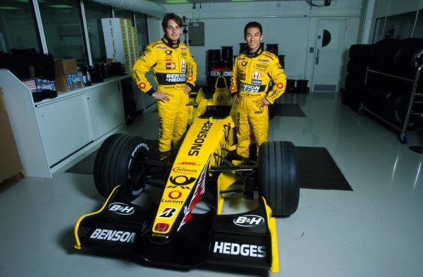 Team mates for 2002, Giancarlo Fisichella (ITA) (left) and Takuma Sato (JPN) (right) at the Jordan Factory.