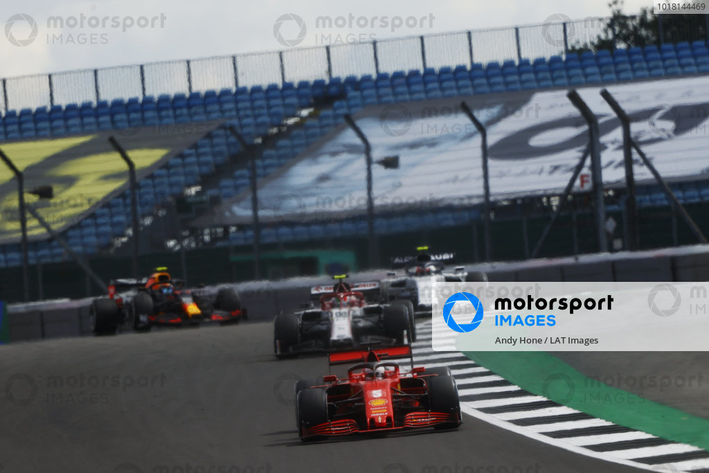 Sebastian Vettel, Ferrari SF1000, leads Antonio Giovinazzi, Alfa Romeo Racing C39, and Pierre Gasly, AlphaTauri AT01