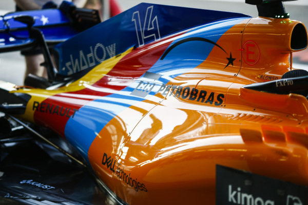 Special edition livery for Fernando Alonso's, McLaren, last race