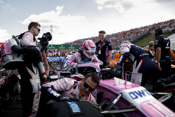 Sergio Perez, Racing Point, arrives on the grid