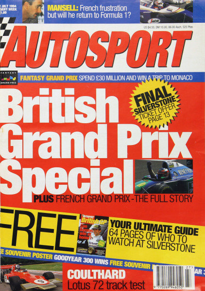 Cover of Autosport magazine, 7th July 1994