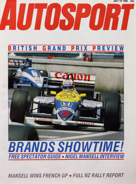 Cover of Autosport magazine, 10th July 1986