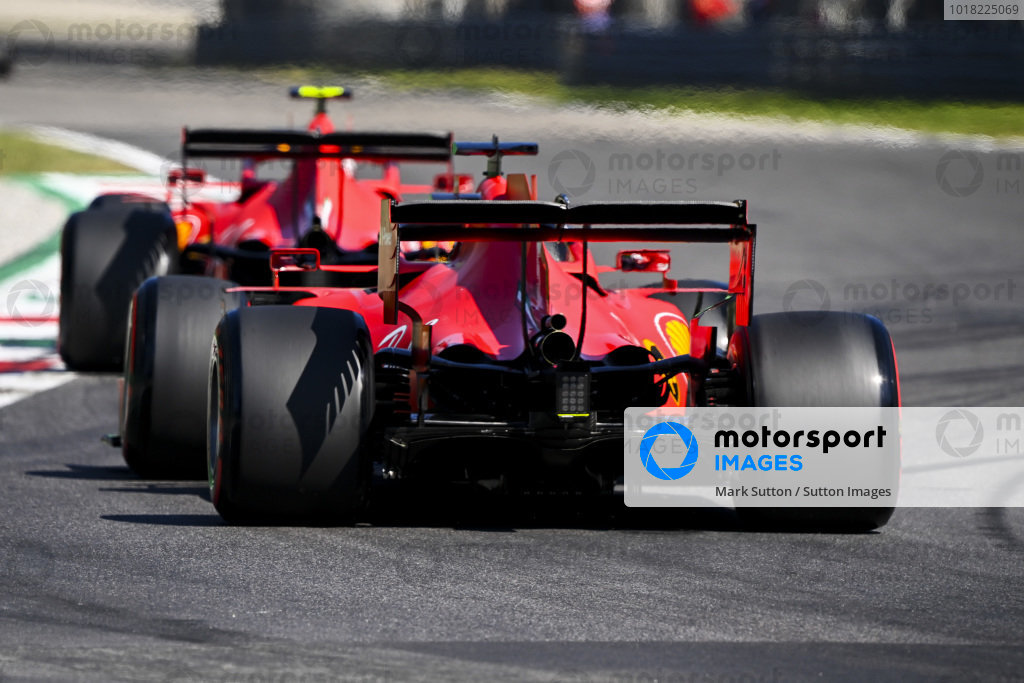 Charles Leclerc, Ferrari SF1000, leads Sebastian Vettel, Ferrari SF1000