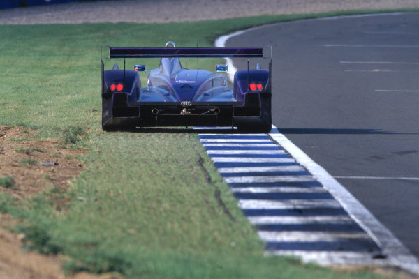 2004 Le Mans Endurance SeriesSilverstone 1000 KilometersSilverstone, England. 12th - 14th August 2004Johnny Herbert (Veloqx Audi R8) runs wide. Action.World Copyright: Glenn Dunbar/LAT Photographicref: 35mm Transparency A01