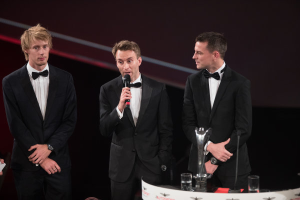 2017 Autosport Awards Grosvenor House Hotel, Park Lane, London. Sunday 3 December 2017. WEC Champions Brendon Hartley, Timo Bernhard and Earl Bamber on stage. World Copyright: Joe Portlock/LAT Images  ref: Digital Image _R3I6351