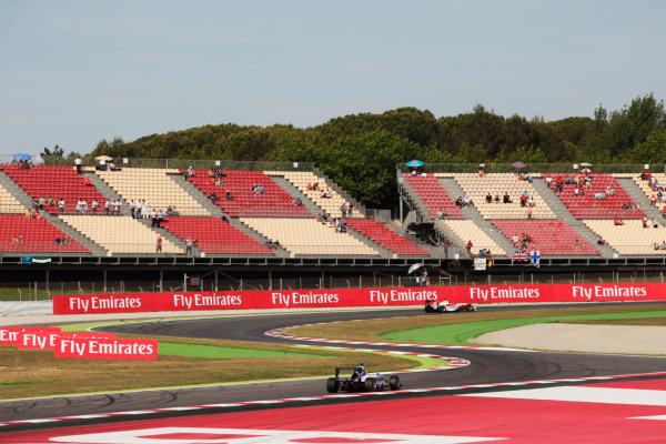 2015 GP3 Series Round 1. Circuit de Catalunya, Barcelona, Spain. Sunday 10 May 2015. Marvin Kirchhofer (GER, ART Grand Prix) leads Jimmy Eriksson (SWE, Koiranen GP). Photo: Zak Mauger/GP3 Series Media Service. ref: Digital Image _MG_7323