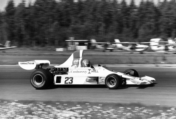 1975 Swedish Grand Prix.Anderstorp, Sweden. 8 June 1975.Tony Brise, Hill GH1-Ford, 6th position, action.World Copyright: LAT Photographic