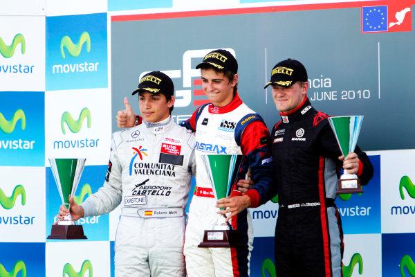 Round 3. Valencia, Spain. 27th June 2010.Sunday Race.Nico Muller, (Sui, Jenzer Motorsport) celebrates on the podium with Roberto Merhi, (ESP, Atech CRS GP) and James Jakes, (GBR, Manor Racing).Portrait. World Copyright: Glenn Dunbar/GP3 Media Service.Digital Image _G7C0784