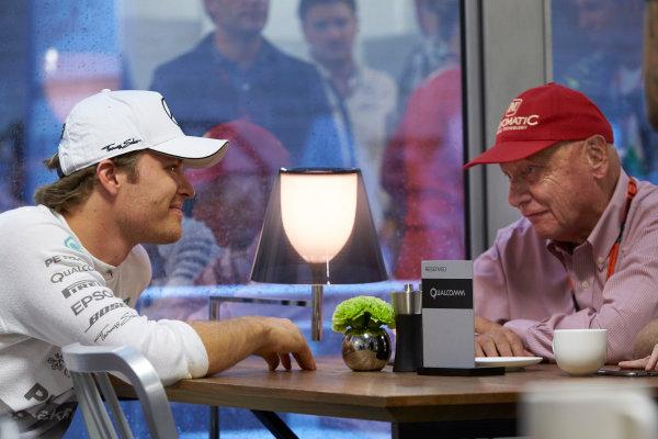 Circuit of the Americas, Austin, Texas, United States of America.  Friday 23 October 2015. Nico Rosberg, Mercedes AMG, with Niki Lauda, Non-Executive Chairman, Mercedes AMG. World Copyright: Steve Etherington/LAT Photographic ref: Digital Image SNE13706