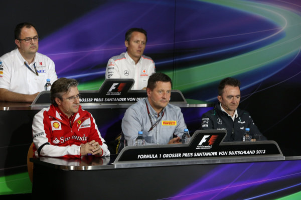 (L to R): Tom McCullough (GBR) Sauber Head of Track Engineering, Sam Michael (AUS) McLaren Sporting Director, Pat Fry (GBR) Ferrari Technical Director, Paul Hembery (GBR) Pirelli Motorsport Director and Paddy Lowe (GBR) Mercedes AMG F1 Executive Director (Technical) in the Press Conference. Formula One World Championship, Rd9, German Grand Prix, Practice, Nurburgring, Germany, Friday 5 July 2013.