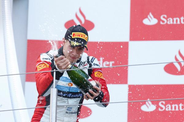 2013 GP3 Series. Round 4.  Nurburgring, Germany.  6th July 2013.  Saturday Race. Facu Regalia (ARG, ART Grand Prix) celebrates his victory on the podium.  World Copyright: Alastair Staley/GP2 Series Media Service. Ref: _R6T7306