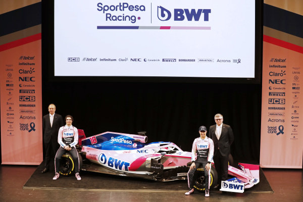 (L to R): Andrew Green, SportPesa Racing Point F1 Team Technical Director, Lance Stroll, SportPesa Racing Point F1 Team, Sergio Perez, SportPesa Racing Point F1 Team and Otmar Szafnauer, SportPesa Racing Point F1 Team Principal with the new SportPesa Racing Point F1 Team RP19 during the SportPesa Racing Point F1 Team Launch in Toronto
