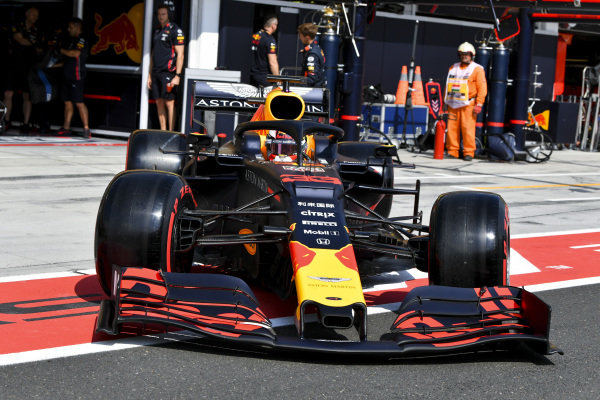 Max Verstappen, Red Bull Racing RB15 in the pit lane