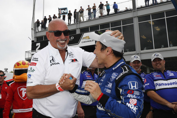 Pole Winner Takuma Sato, Rahal Letterman Lanigan Racing Honda with team owner Bobby Rahal