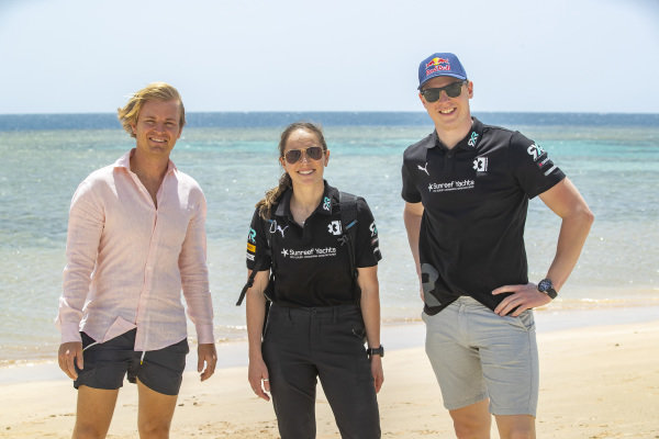 Nico Rosberg, founder and CEO, Rosberg X Racing, Molly Taylor (AUS), Rosberg X Racing, and Johan Kristoffersson (SWE), Rosberg X Racing, collect litter on the beach