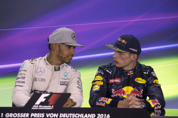 Lewis Hamilton (GBR) Mercedes AMG F1 and Max Verstappen (NED) Red Bull Racing in the Press Conference at Formula One World Championship, Rd12, German Grand Prix, Race, Hockenheim, Germany, Sunday 31 July 2016.