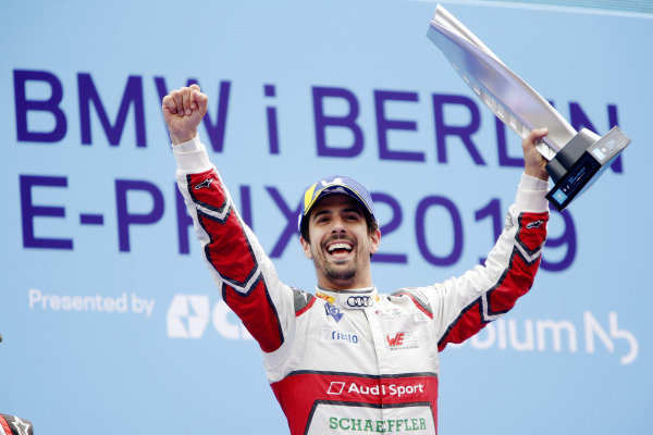 Lucas Di Grassi (BRA), Audi Sport ABT Schaeffler, celebrates on the podium with his trophy