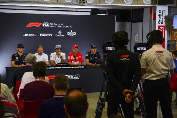 Pierre Gasly, Red Bull Racing, Valtteri Bottas, Mercedes AMG F1, Carlos Sainz Jr, McLaren, Sebastian Vettel, Ferrari and George Russell, Williams Racing in Press Conference