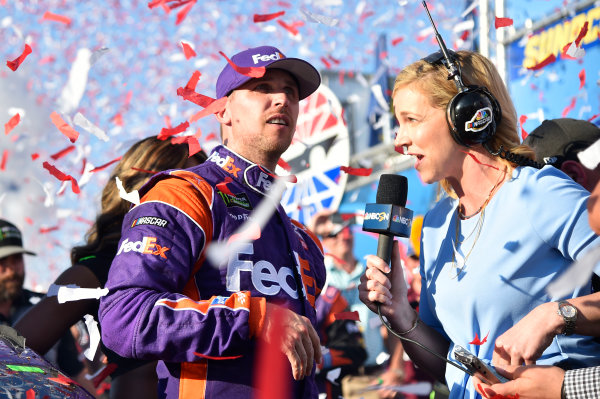 Monster Energy NASCAR Cup Series Overton?s 301 New Hampshire Motor Speedway, Loudon, NH USA Sunday 16 July 2017 Denny Hamlin, Joe Gibbs Racing, FedEx Office Toyota Camry celebrates his win World Copyright: Nigel Kinrade LAT Images