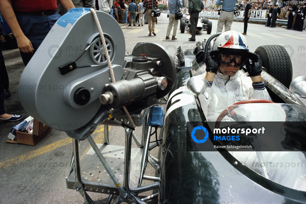 A film camera is attached to actor James Garner's F1 vehicle for racing action for John Frankenheimer's motion picture Grand Prix.