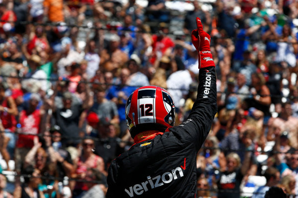 Verizon IndyCar Series Indianapolis 500 Carb Day Indianapolis Motor Speedway, Indianapolis, IN USA Friday 26 May 2017 Will Power, Team Penske Chevrolet celebrates winning the Pit Stop Competition World Copyright: Phillip Abbott LAT Images ref: Digital Image abbott_indy_0517_26885