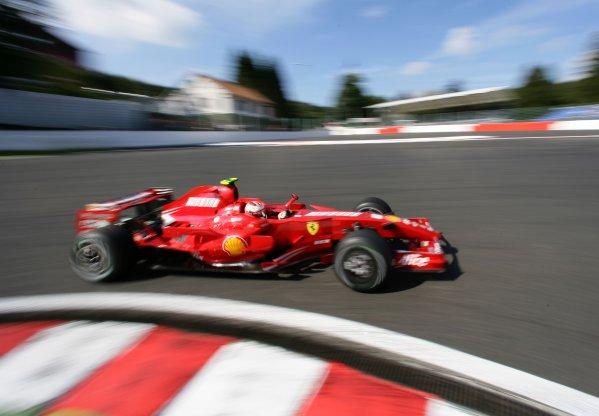 2007 Belgian Grand Prix - Friday Practice Spa Francorchamps, Belgium. 14th September 2007. Kimi Raikkonen, Ferrari F2007. Action.  World Copyright: Steve Etherington/LAT Photographic ref: Digital Image WI2T3204