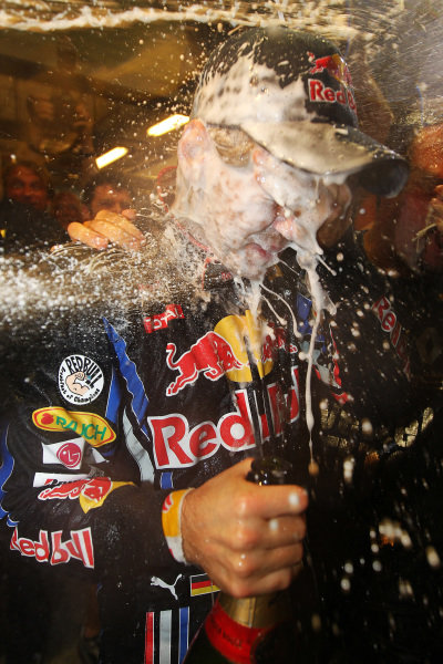 Race winner Sebastian Vettel (GER) Red Bull Racing celebrates.