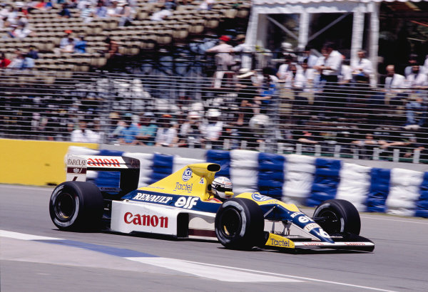 1989 Australian Grand Prix.Adelaide, Australia.3-5 November 1989.Riccardo Patrese (Williams FW13 Renault) 3rd position.Ref-89 AUS 44.World Copyright - LAT Photographic