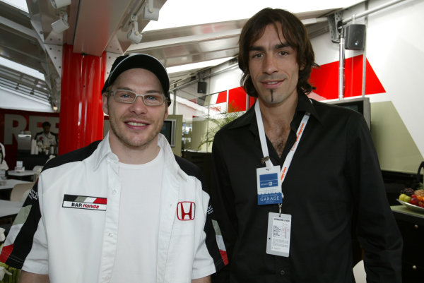 2003 French Grand Prix - Sunday RaceMagny-Cours, France.6th July 2003.Jacques Villeneuve, BAR Honda 005, with Robert Pirez.World Copyright LAT Photographic.Digital Image Only.