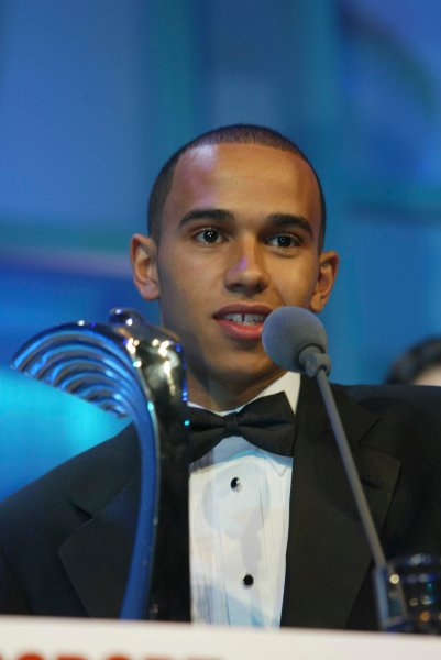 2003 AUTOSPORT AWARDS, The Grosvenor, London. 7th December 2003.Lewis Hamilton, winner of the Club Driver award.Photo: Peter Spinney/LAT PhotographicRef: Digital Image only