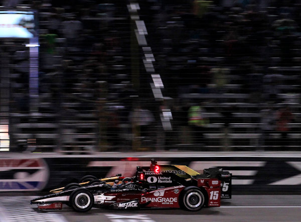 10-11 June, 2016, Fort Worth, Texas USA Graham Rahal beats James Hinchcliffe to the checkered flag ?2016, Phillip Abbott LAT Photo USA