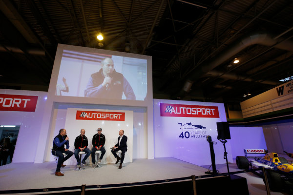 Autosport International Exhibition. National Exhibition Centre, Birmingham, UK. Thursday 12 January 2017. Ben Taylor, Elfyn Evans and co-driver Ben Taylor join Toby Moody on the Autosport Stage. World Copyright: Sam Bloxham/LAT Photographic. Ref: _SLB4360