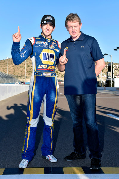 7-8 November, 2014, Avondale, Arizona USA Chase Elliott celebrates his Championship with Father Bill ? 2014, Nigel Kinrade LAT Photo USA