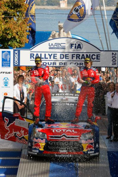 Round 12, Rally of France, Tour de Corse7th - 10th October 2008Sebastien Loeb & Daniel Elena, Citroen, podiumWorldwide Copyright: McKlein/LAT