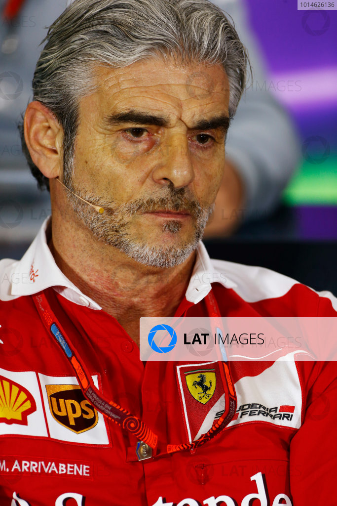 Silverstone, Northamptonshire, UK Friday 08 July 2016. Mauricio Arrivabene, Team Principal, Ferrari, in the Team Principals Press Conference. World Copyright: Andy Hone/LAT Photographic ref: Digital Image _ONY8115