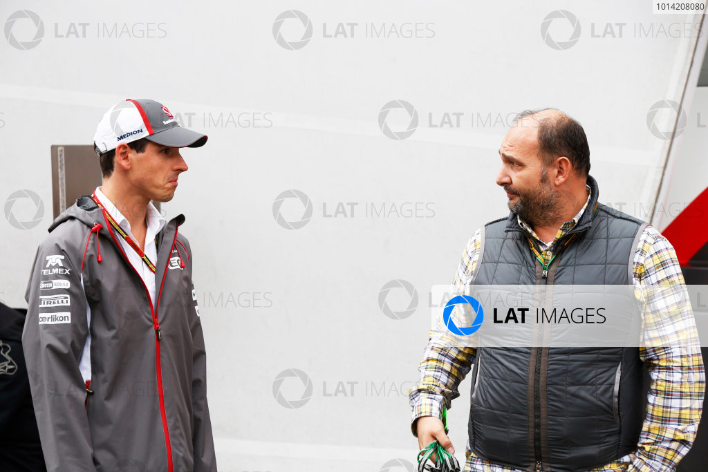 Spa-Francorchamps, Spa, Belgium. Friday 22 August 2014. Adrian Sutil, Sauber, with Colin Kolles, Advisor, Caterham F1. World Copyright: Charles Coates/LAT Photographic. ref: Digital Image _J5R9317