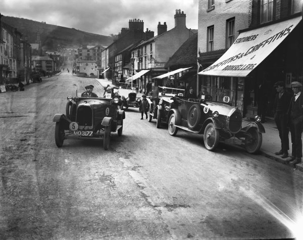 1924 RAC Small Car Trials. May 1924. C. A. H. Mason and S. A. Wenmouth with their Derby and Seabrook cars, action.  World Copyright: LAT Photographic.  Ref:  Autocar Glass Plate A3070.