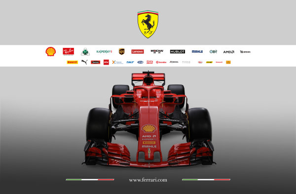 FIA Formula 1 World Championship 2018 Ferrari SF71H studio images High front, head-on, view. Copyright free for Editorial Use Only Credit: Ferrari