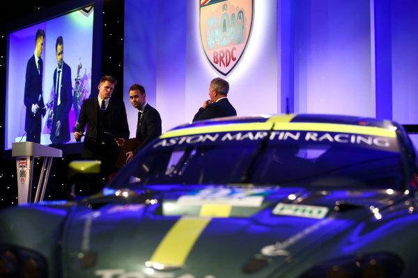 2017 British Racing Drivers Club Awards. London Hilton Hotel, Park Lane, London. Monday 4th December 2017. Jake Humphrey, Jonny Adam and Martin Brundle. World Copyright: Jakob Ebrey / LAT Images. Ref: Adam-02