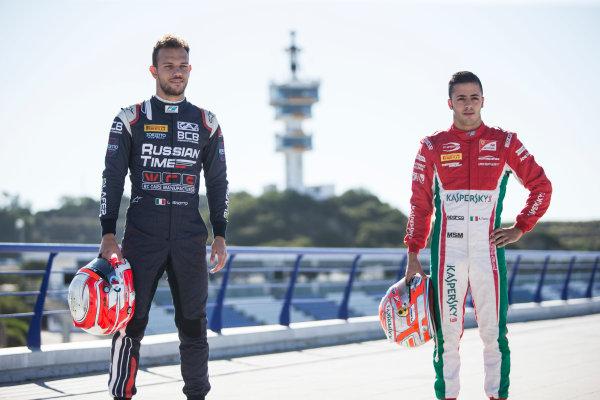 2017 FIA Formula 2 Round 10. Circuito de Jerez, Jerez, Spain. Thursday 5 October 2017. Luca Ghiotto (ITA, RUSSIAN TIME) and Antonio Fuoco (ITA, PREMA Racing).  Photo: Andrew Ferraro/FIA Formula 2. ref: Digital Image _FER8164
