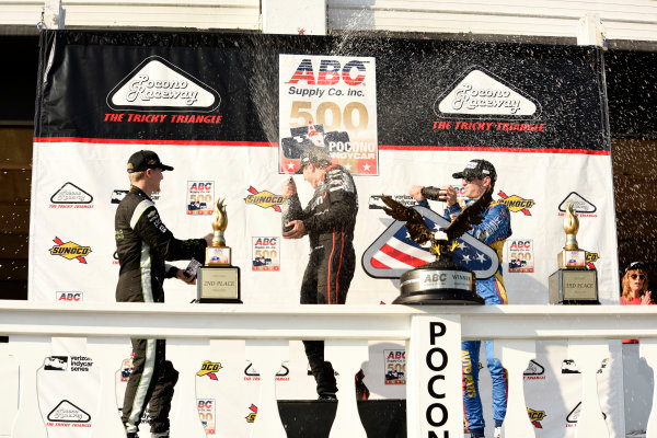 Verizon IndyCar Series ABC Supply 500 Pocono Raceway, Long Pond, PA USA Monday 21 August 2017 Josef Newgarden, Team Penske Chevrolet, Will Power, Team Penske Chevrolet and Alexander Rossi, Curb Andretti Herta Autosport with Curb-Agajanian Honda spray champagne in Victory Lane World Copyright: Gregg Feistman LAT Images