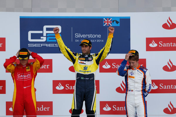 2014 GP2 Series Round 5. Silverstone International Circuit, Silverstone, Northamptonshire, England Sunday 6 July 2014. Felipe Nasr (BRA, Carlin), Stefano Coletti (MON, Racing Engineering) & Johnny Cecotto (VEN, Trident)  Photo: Sam Bloxham/GP2 Series Media Service. ref: Digital Image _SBL8398