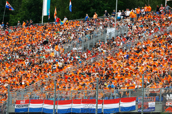 Red Bull Ring, Spielberg, Austria. Sunday 09 July 2017. A grandstand full of disappointed Max Verstappen, Red Bull Racing, fans. World Copyright: Steven Tee/LAT Images ref: Digital Image _R3I8013