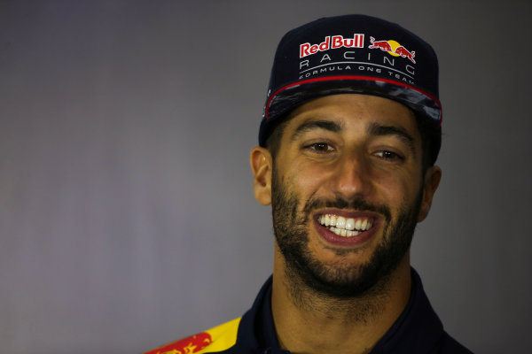 Silverstone, Northamptonshire, UK.  Thursday 13 July 2017. Daniel Ricciardo, Red Bull Racing , in the Thursday press conference. World Copyright: Charles Coates/LAT Images  ref: Digital Image DJ5R0732