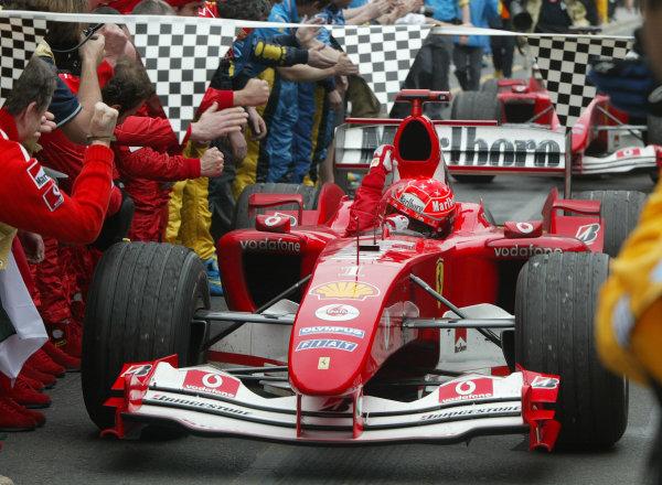 2004 Australian Grand Prix - Sunday Race, Albert Park, Melbourne. Australia. 7th March 2004Michael Schumacher, Ferrari F2004 parc ferme. World Copyright: Steve Etherington/LAT Photographic ref: Digital Image Only